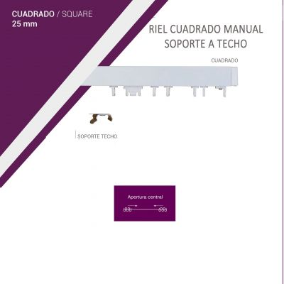 Riel cuadrado manual - kit a medida